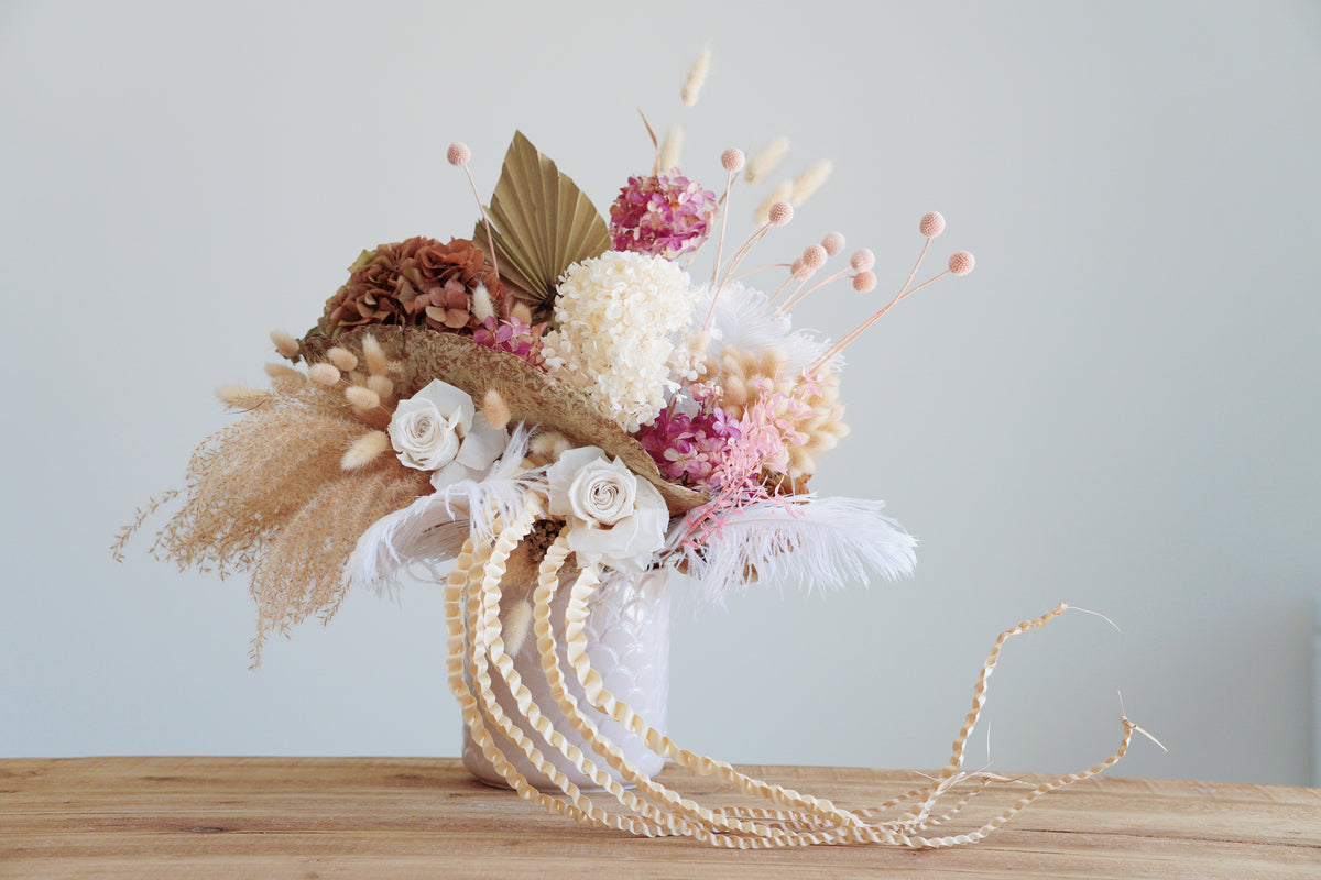 White pink and natural yellow - Preserved flower arrangements - Florii Flower Studio