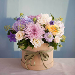 Pastel flowers round box - Florii Flower Studio