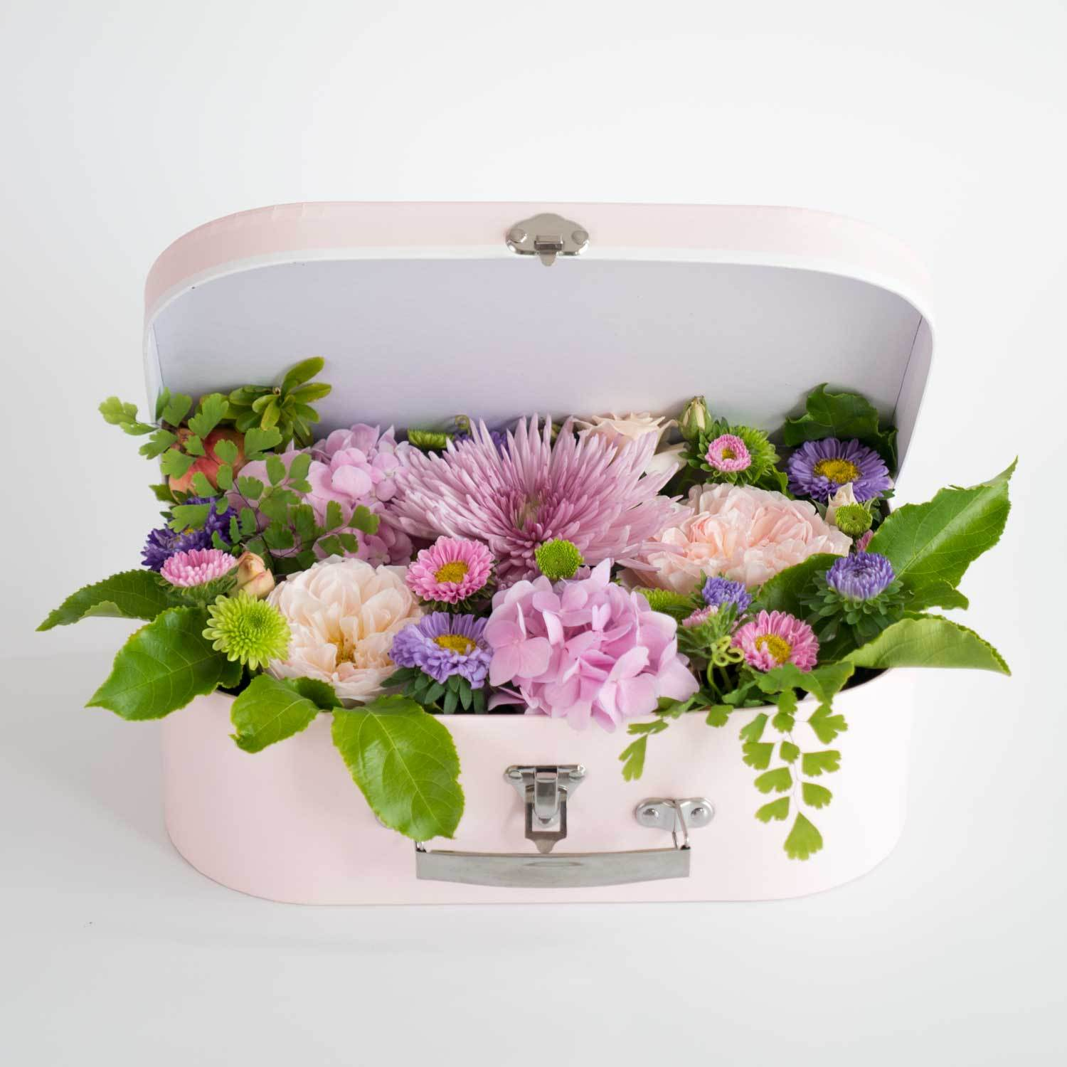 Pastel flowers suitcase - Florii Flower Studio