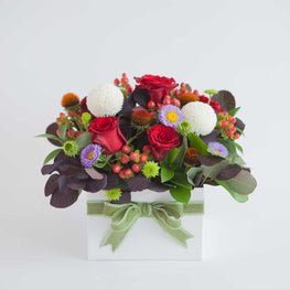 Roses square flowers box - Florii Flower Studio