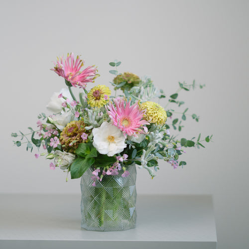 Garden flowers arrangement in a short vase - Florii Flower Studio