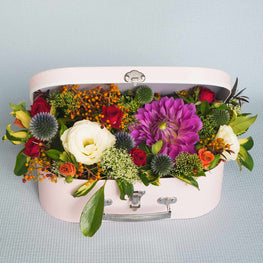Tropical colour flowers suitcase - Florii Flower Studio