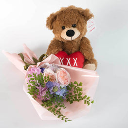 Ricky Teddy Bear with Heart - Florii Flower Studio