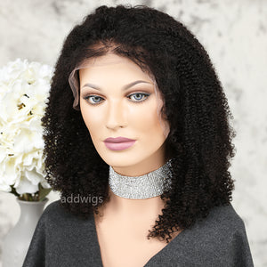 Afro Kinky Curly Full Lace Wig 100% Real Human Hair For Black Women