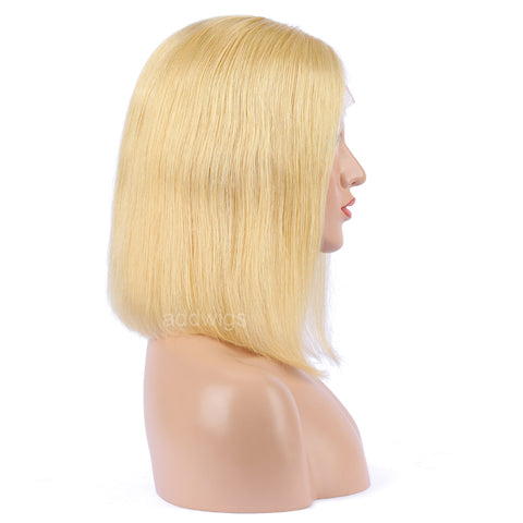 Lemon Chiffon Human Hair Fashion Bob Wig 2020 Summer Colorful Lace Wigs