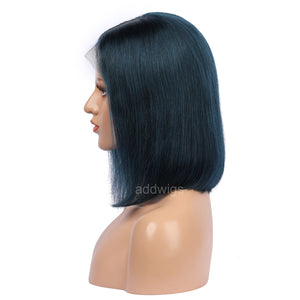 Prussian Blue Human Hair Fashion Bob Wig 2018 Summer Colorful Lace Wigs