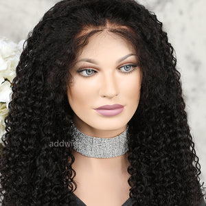 Kinky Curly 13*6 Deep Parting Lace Front Wigs Human Hair Pre-plucked Natural Hairline