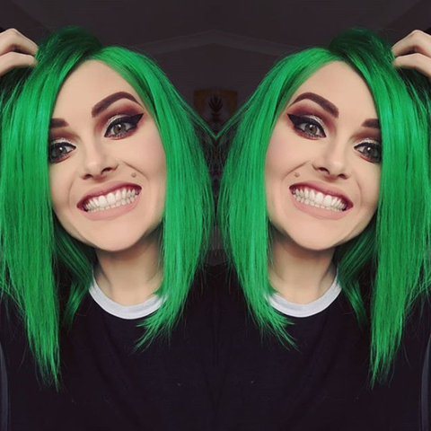 Emerald Green Human Hair Fashion Bob Wig 2018 Summer Colorful Lace Wigs
