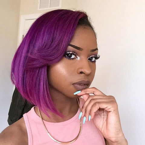 Purple Human Hair Fashion Bob Wig 2018 Summer Colorful Lace Wigs