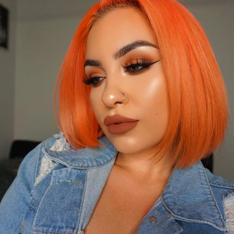 Orange Red Human Hair Fashion Bob Wig 2020 Summer Colorful Lace Wigs