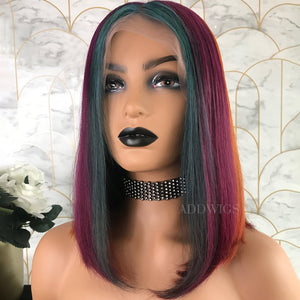 Rena Remy Hair Lace Front Wigs Beautiful Rainbow Color