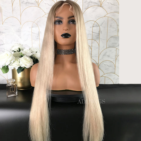 Patience Remy Hair Lace Front Wigs 1B/Silvery Blonde