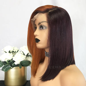 Elva Virgin Hair Lace Front Wigs Orange&Burgundy