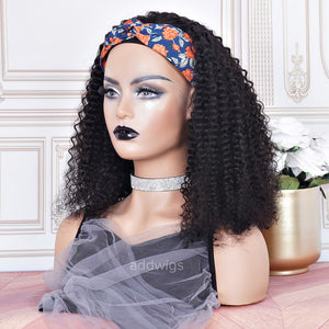 180% Heavier Density Headband Wigs Curly 100% Human Hair (WITH TWO FREE HEADBANDS)