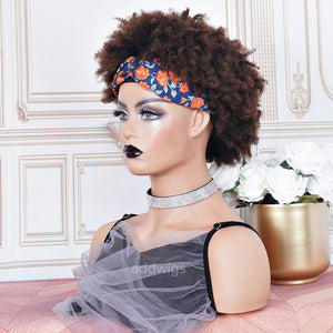 #1b/4 Headband Wigs 3A Kinky Curly 100% Human Hair (WITH TWO FREE HEADBANDS)