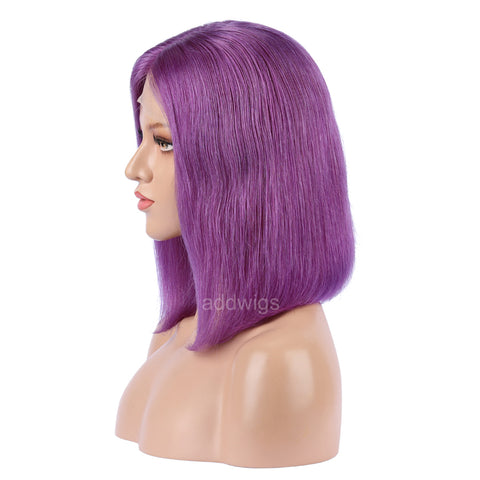 Blue Violet Human Hair Fashion Bob Wigs 2018 Summer Colorful Lace Wigs