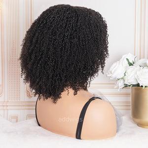 Scalp Top Wig Afro Kinky Curly 100% Human Hair Wigs With Bangs Machine Made