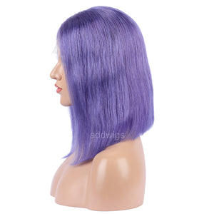 Lavender Human Hair Fashion Bob Wigs 2018 Summer Colorful Lace Wigs