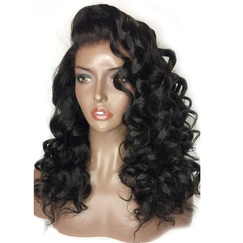 Loose Wave 360 Lace Front Wig with Baby Hair Natural Black Pre-Plucked