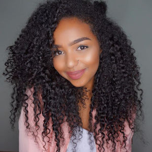 Afro Kinky Curly 100% Real Human Hair 360 Lace Front Wig For Black Women