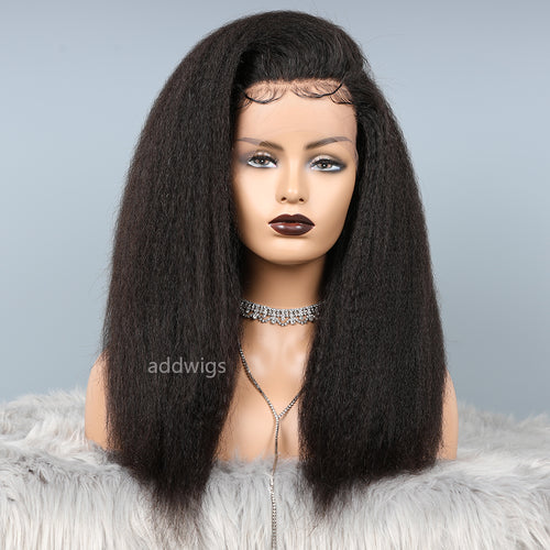 Silk Top Human Hair Kinky Straight Lace Wigs For Black Women