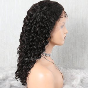 Natural Wave Human Hair Full Lace Wig Natural Black Hair Color