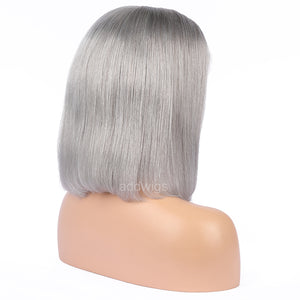 Silver Gray Human Hair Fashion Bob Wig 2018 Summer Colorful Lace Wigs