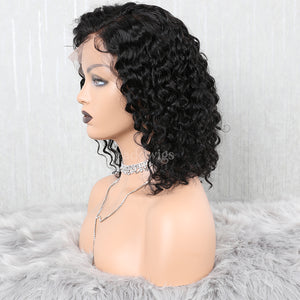 Bob Curly Lace Front Wigs Human Hair Glueless Wig With Elastic Bands