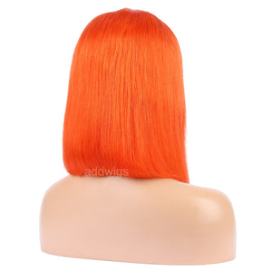 Orange Red Human Hair Fashion Bob Wig 2018 Summer Colorful Lace Wigs
