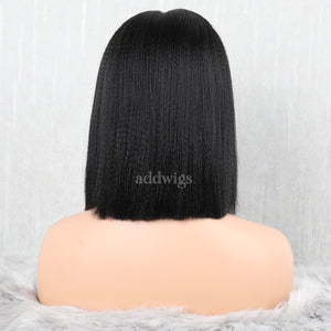 Yaki Straight Lace Front Wigs Human Hair Glueless Wig With Elastic Bands