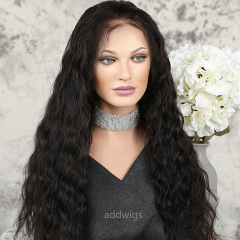 2021 New Arrival Water Wave Human Hair Lace Front Wigs With Elastic Bands