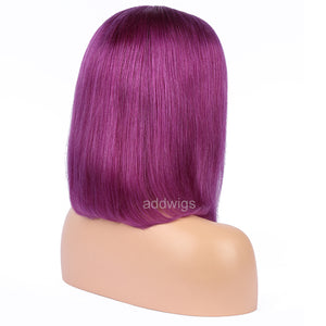 Purple Human Hair Fashion Bob Wig 2020 Summer Colorful Lace Wigs