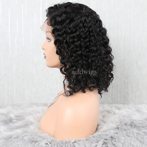 Loose Curly Full Lace Wig Short Human Hair Bob Wigs
