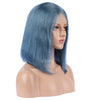 Steel Blue Human Hair Fashion Bob Wig 2018 Summer Colorful Lace Wigs