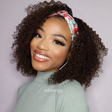 #1BT#4 Headband Wigs Kinky Curls 100% Human Hair (WITH TWO FREE HEADBANDS)