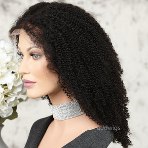 Afro Kinky Curly 5x5 Inches Lace Closure Wig 100% Real Human Hair