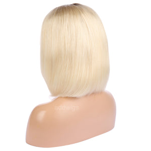 Chestnut Root & Blonde Lace Wig Human Hair Bob Style 2018 Summer Colorful Lace Wigs