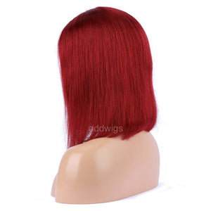 Dark Red Hot Selling Human Hair Bob Wig 2020 Summer Colorful Lace Wigs