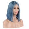 Steel Blue Human Hair Fashion Bob Wig 2020 Summer Colorful Lace Wigs