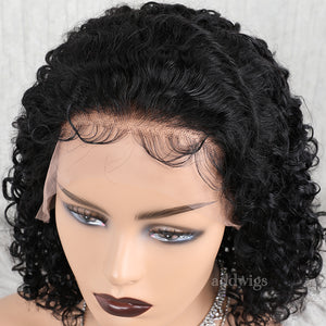 Curly Short Human Hair Full Lace Wig Bob Wigs