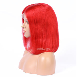 Red Human Hair Fashion Bob Wig 2018 Summer Colorful Lace Wigs