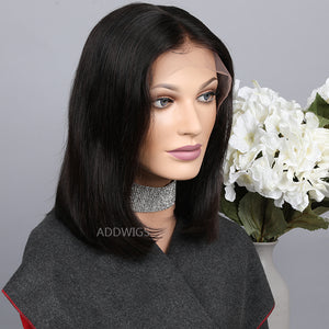 Straight Bob Wig Middle Part Short Human Hair Lace Front Wig