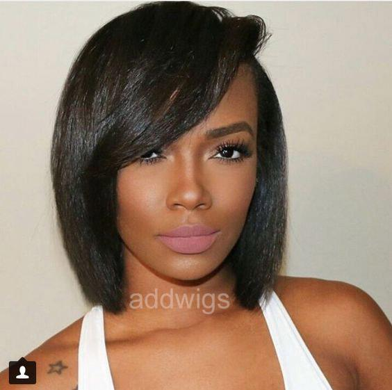 Bob Cut Human Hair Lace Wig With Side Bangs UK Silky Straight ... fb8a3c112a17