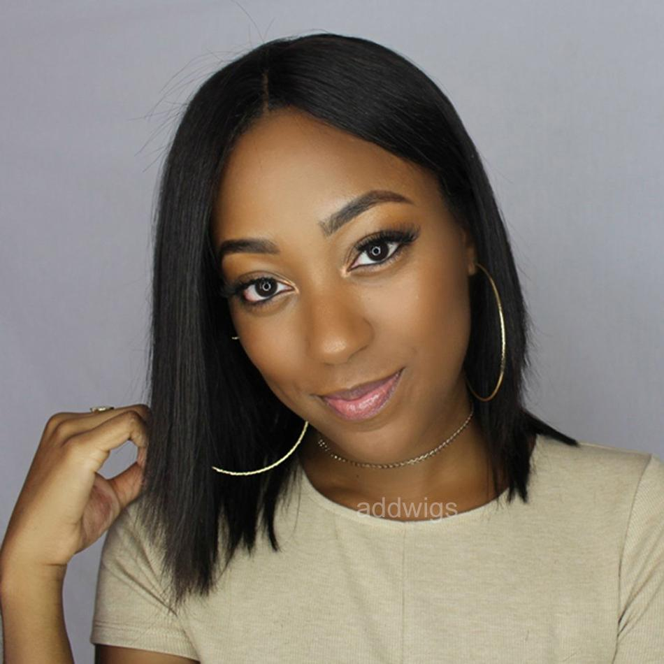 Short Human Hair Lace Wigs UK Silky Straight Middle Part