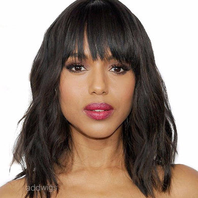 Natural Wavy Short Bob Wigs With Bang 100% Human Hair Lace Wigs