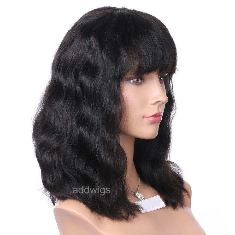 ... Natural Wavy Short Bob Wigs With Bang 100% Human Hair Lace Wigs ... 84fc77ce875c