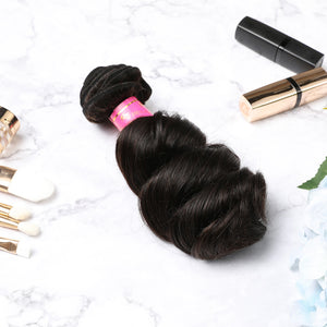 3 Bundles With Lace Closure Malaysian Human Hair Loose Wave Hair Weave With Closure