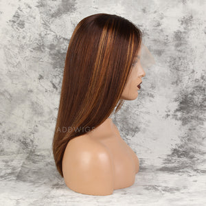 Ronda|| HD Lace Virgin Hair Lace Front Wigs #Dark Orange/30 Highlights