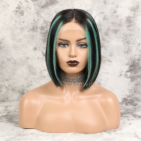 Alicia||Virgin Hair Lace Front Wigs #1B/Mint Green Balayage