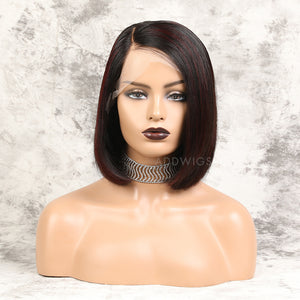 Alesia||Virgin Hair 12 Inches Lace Front Wig #1B/99J Balayage